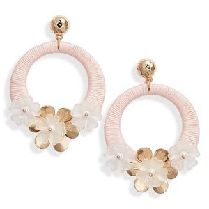 Flower Hoop Drop Earrings